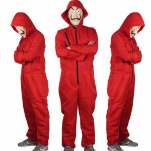 three guys in a red boilersuit costume from casa de papel netflix series