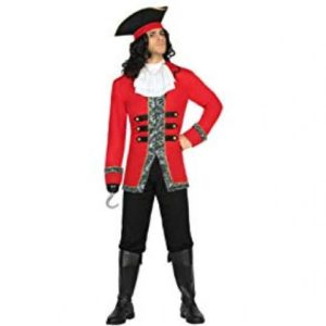 A guy dressed as a Captain Huck in a red jacket, black shoes, throusers and boots with a huck going for a costume party
